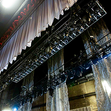 A view of lighting truss backstage for the Anthony Hamilton Back to Love concert tour.