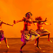 Dance performance at Carnegie Mellon University School of Drama were male and female dancers reenact the tribal dances of Africa.